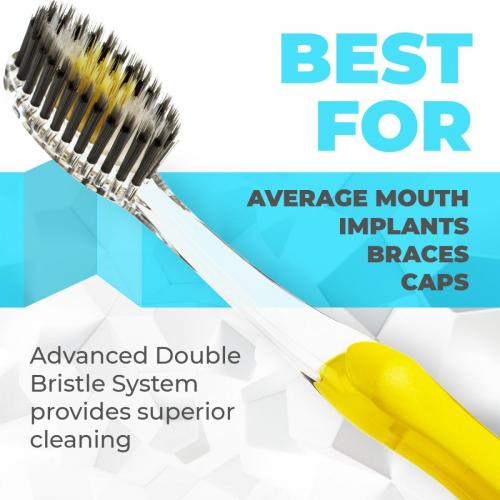 Solodent toothbrush antimicrobial silver, charcoal & gold infused soft bristles.Best for sensitive teeth, gums, braces