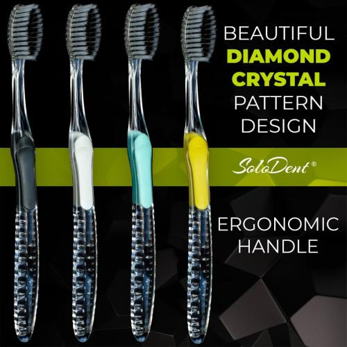 Solodent toothbrush antimicrobial silver & charcoal infused extra soft bristles.Best for sensitive teeth, gums, braces