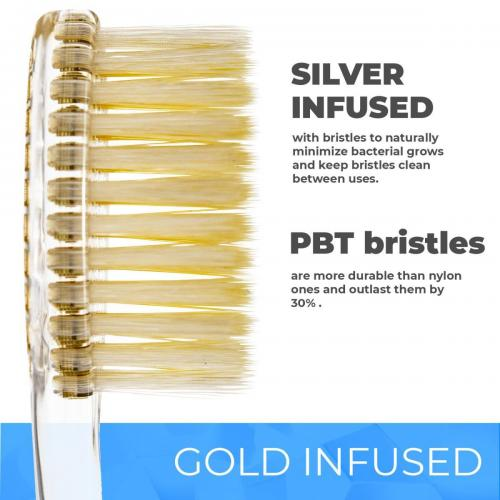 Solodent toothbrush antimicrobial silver & gold infused extra soft bristles.Best for sensitive teeth, gums, braces, implants