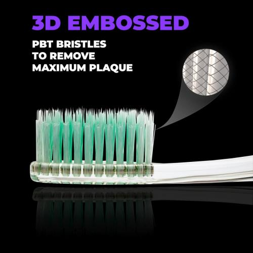 Solodent toothbrush antimicrobial silver and jade infused embossed bristles.Best for sensitive teeth, gums, braces, implants