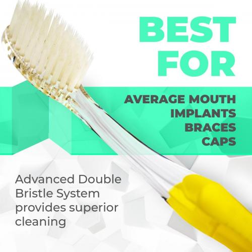 Solodent toothbrush antimicrobial silver infused soft bristles.Best for sensitive teeth, gums, braces, implants