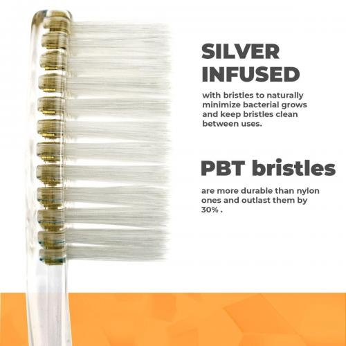 Solodent toothbrush antimicrobial silver infused extra soft bristles.Best for sensitive teeth, gums, braces, implants