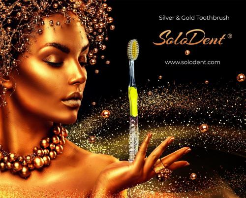 Solodent toothbrush antimicrobial silver and gold infused PBT embossed bristles.Best for sensitive teeth and gums, braces, implants