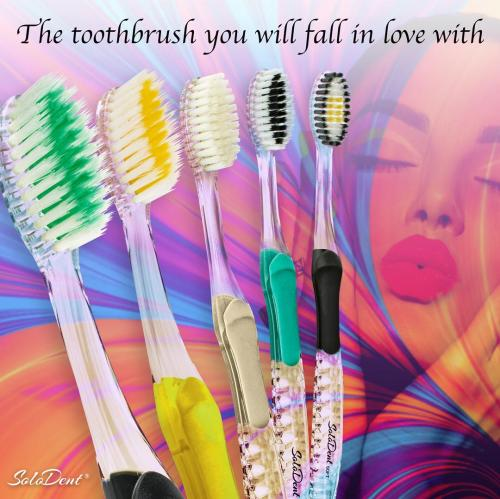 Solodent toothbrush antimicrobial silver infused embossed bristles.Best for sensitive teeth, gums, braces, implants